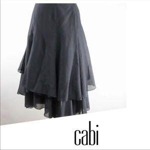 CAbi Malachite Gray Skirt Silk Blend Asymmetrical